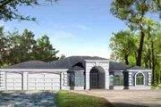 Adobe / Southwestern Style House Plan - 4 Beds 3 Baths 2735 Sq/Ft Plan #1-1188 Exterior - Front Elevation