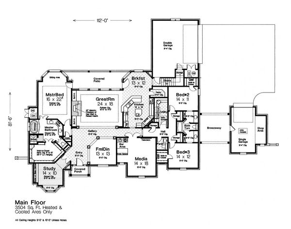 European Floor Plan - Main Floor Plan Plan #310-1305