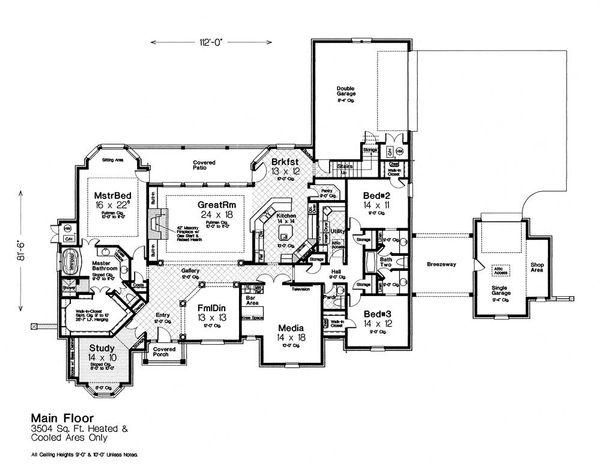 Dream House Plan - European Floor Plan - Main Floor Plan #310-1305