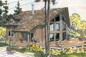 House Design - Cabin Exterior - Front Elevation Plan #124-510