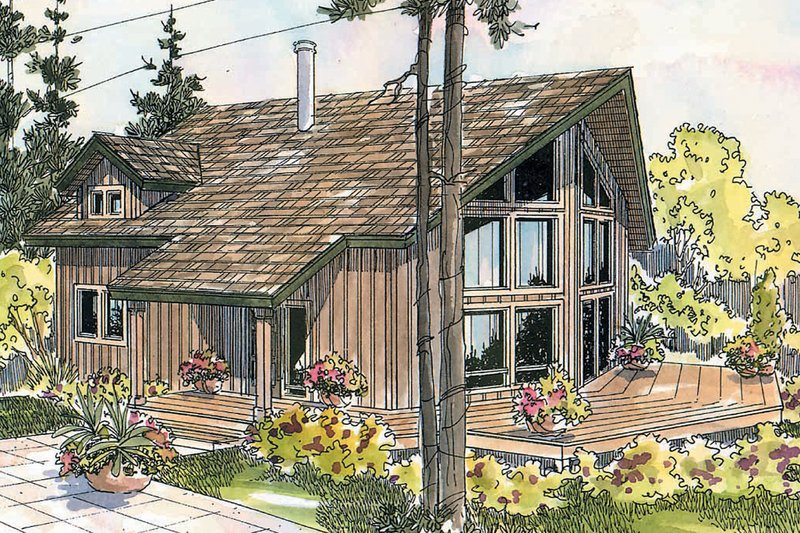 Cabin Style House Plan - 2 Beds 2 Baths 1211 Sq/Ft Plan #124-510 Exterior - Front Elevation