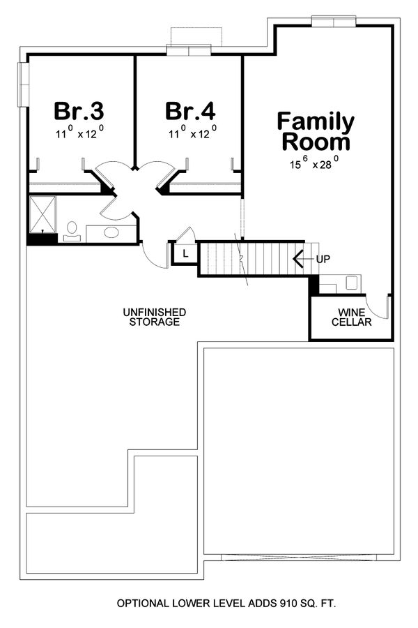 House Design - Cottage Floor Plan - Lower Floor Plan #20-2413