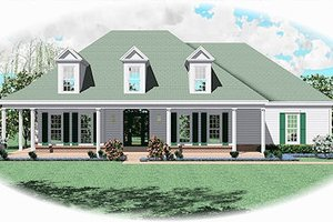 Southern Exterior - Front Elevation Plan #81-13810