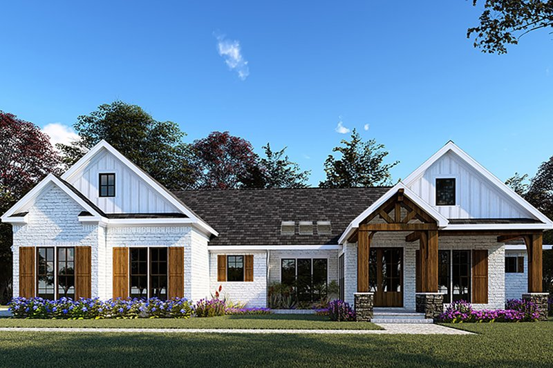 Architectural House Design - Farmhouse Exterior - Front Elevation Plan #923-154