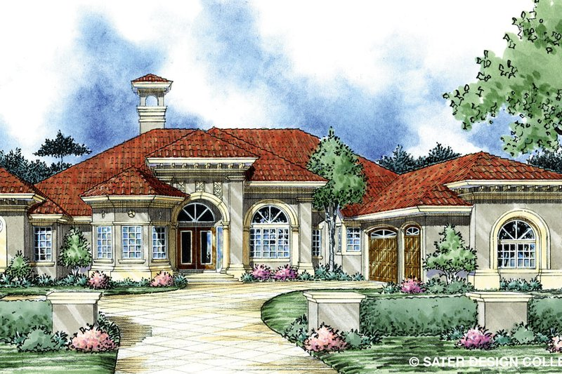 House Plan Design - Mediterranean Exterior - Front Elevation Plan #930-301