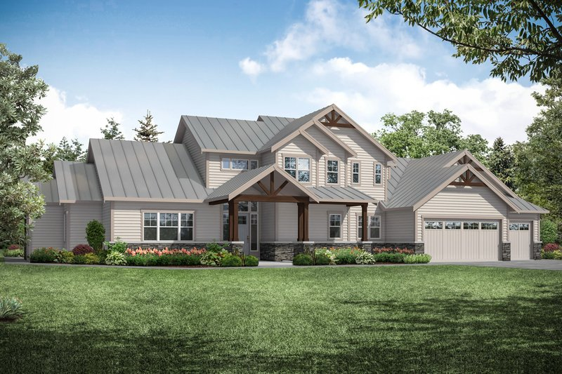 Dream House Plan - Craftsman Exterior - Front Elevation Plan #124-1229
