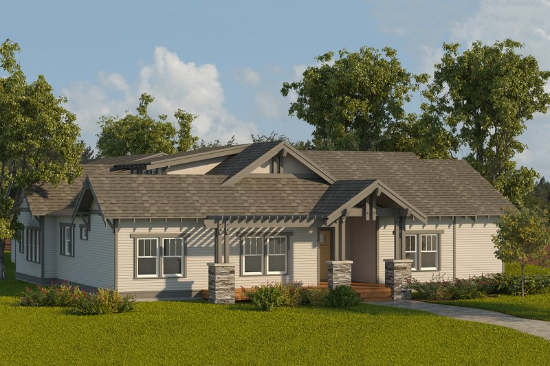 Craftsman Style House Plan - 3 Beds 2.5 Baths 2070 Sq/Ft Plan #895-9 Exterior - Front Elevation
