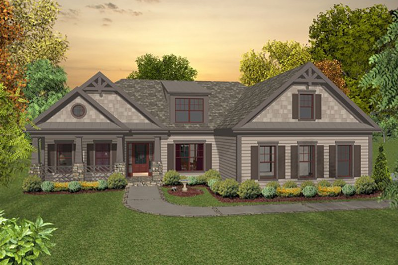 Craftsman Style House Plan - 3 Beds 2 Baths 1800 Sq/Ft Plan #56-633 Exterior - Front Elevation
