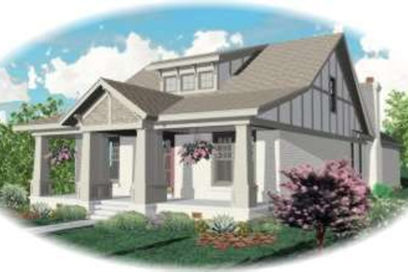 Bungalow Style House Plan - 4 Beds 3 Baths 3122 Sq/Ft Plan #81-1122 Exterior - Front Elevation