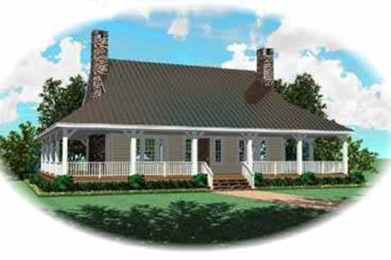 Country Style House Plan - 3 Beds 2.5 Baths 2373 Sq/Ft Plan #81-109 Exterior - Front Elevation