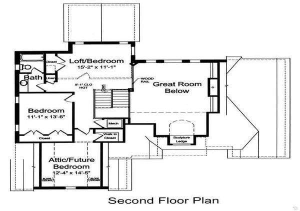 European Floor Plan - Upper Floor Plan Plan #46-473