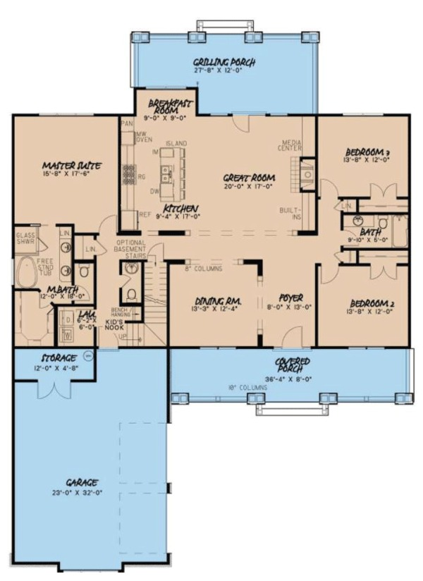 House Plan Design - Country Floor Plan - Main Floor Plan #923-70