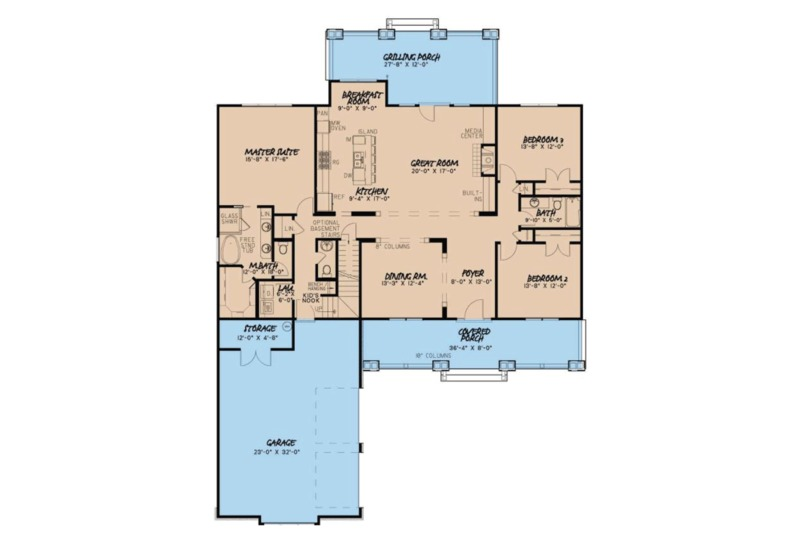 Country Floor Plan - Main Floor Plan Plan #923-70