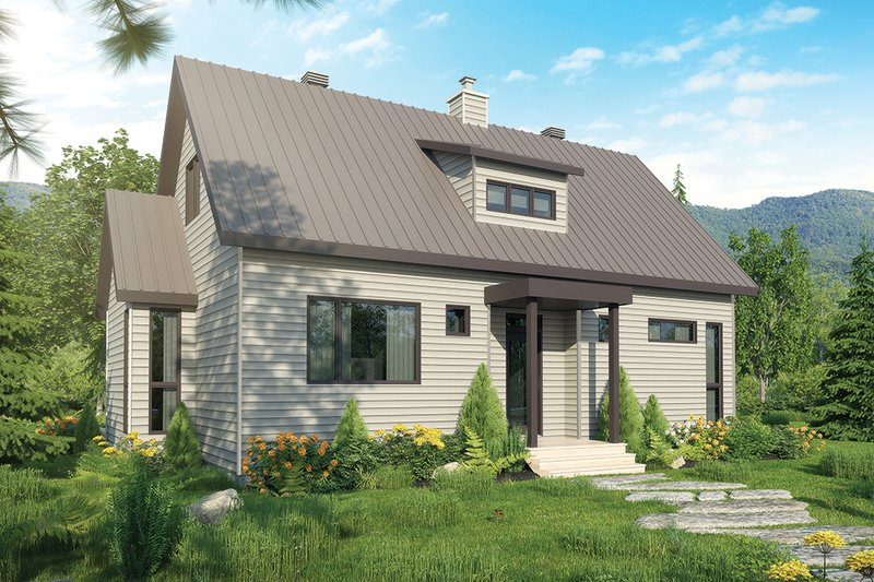 Contemporary Style House Plan - 3 Beds 3 Baths 1587 Sq/Ft Plan #23-2312 Exterior - Front Elevation