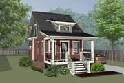 Bungalow Style House Plan - 1 Beds 1 Baths 680 Sq/Ft Plan #79-308 Exterior - Front Elevation