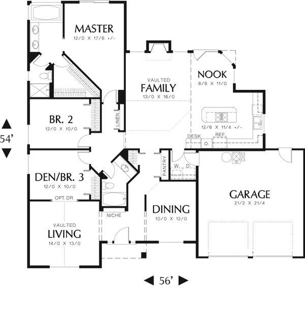 Ranch Floor Plan - Main Floor Plan Plan #48-589