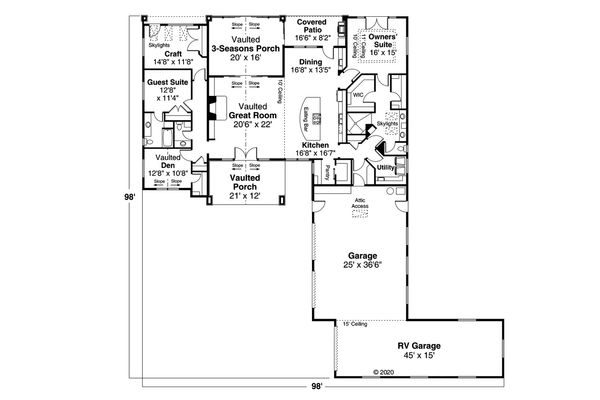 Architectural House Design - Craftsman Floor Plan - Main Floor Plan #124-1182