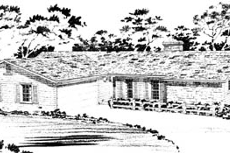 Ranch Style House Plan - 3 Beds 2 Baths 1579 Sq/Ft Plan #10-128 Exterior - Front Elevation