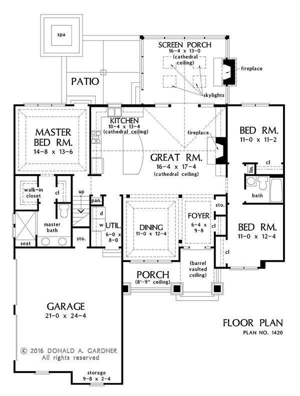 Craftsman Style House Plan - 3 Beds 2 Baths 1622 Sq/Ft Plan #929-1027 Floor Plan - Main Floor Plan