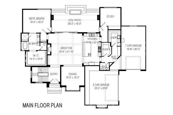 Contemporary Floor Plan - Main Floor Plan Plan #920-72