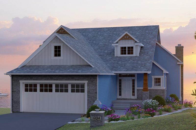 Architectural House Design - Craftsman Exterior - Front Elevation Plan #1064-14