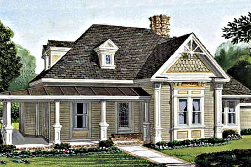 Victorian Style House Plan - 3 Beds 2 Baths 1891 Sq/Ft Plan #410-103 Exterior - Front Elevation