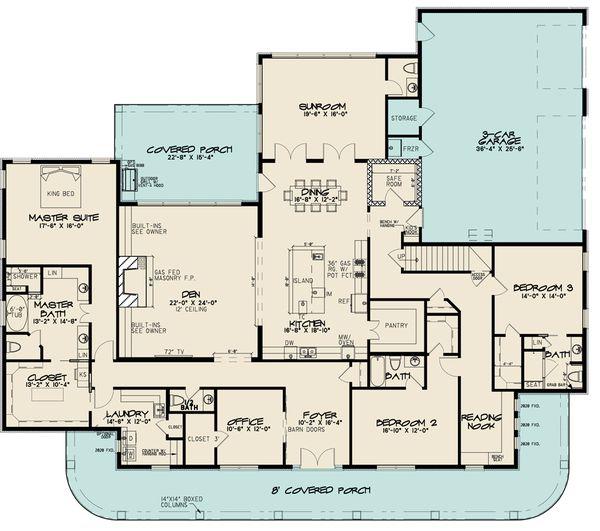 Southern Floor Plan - Main Floor Plan #923-84