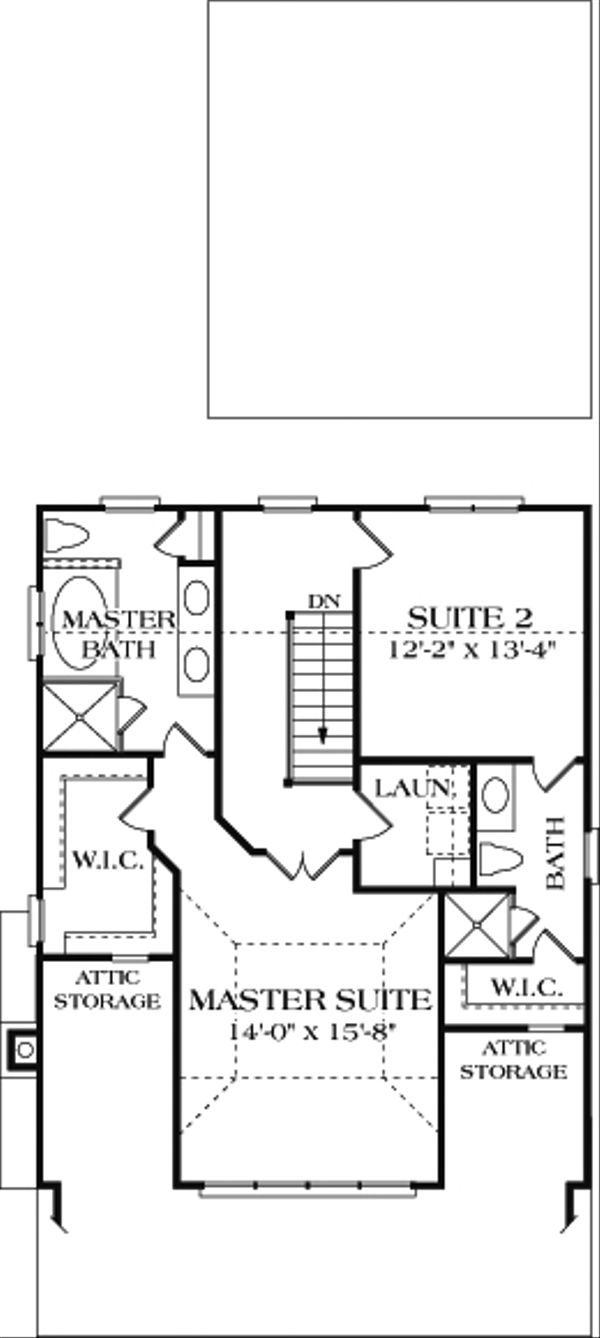 Bungalow Floor Plan - Upper Floor Plan Plan #453-4