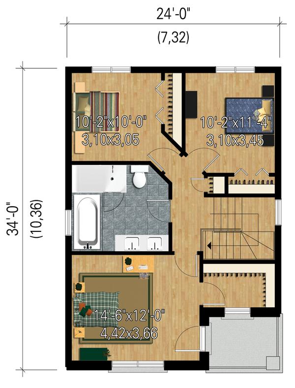 Contemporary Floor Plan - Upper Floor Plan Plan #25-4429