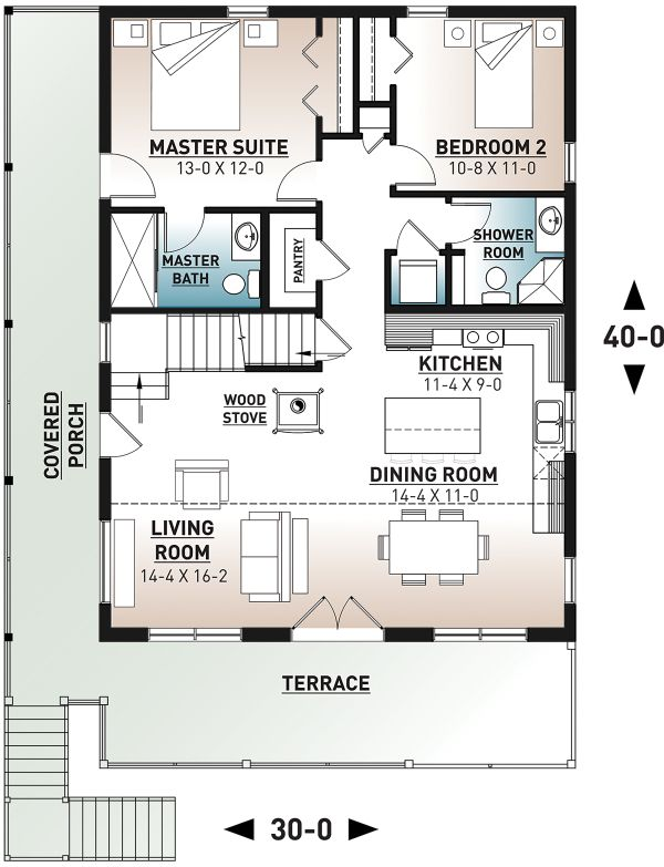 Cottage Floor Plan - Main Floor Plan Plan #23-2718