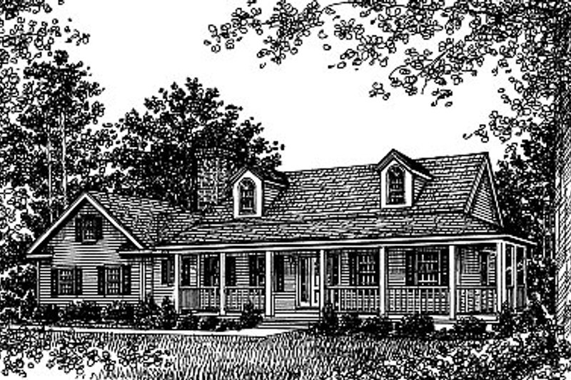 Farmhouse Style House Plan - 3 Beds 2.5 Baths 1767 Sq/Ft Plan #12-218 Exterior - Front Elevation