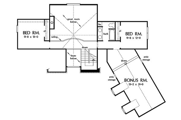 European Floor Plan - Upper Floor Plan Plan #929-41