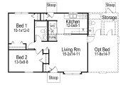 Farmhouse Style House Plan - 2 Beds 1 Baths 768 Sq/Ft Plan #57-410 Floor Plan - Main Floor Plan