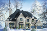 European Style House Plan - 4 Beds 2 Baths 4054 Sq/Ft Plan #25-4476 Exterior - Front Elevation
