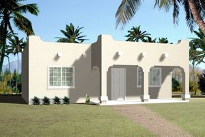 Adobe / Southwestern Exterior - Front Elevation Plan #1-371