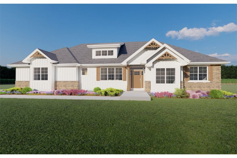 Ranch Style House Plan - 3 Beds 2.5 Baths 1772 Sq/Ft Plan #126-186 Exterior - Front Elevation