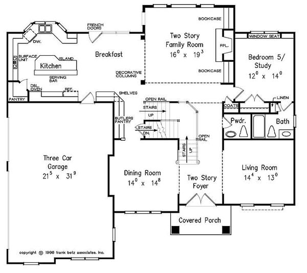 European Floor Plan - Main Floor Plan Plan #927-24