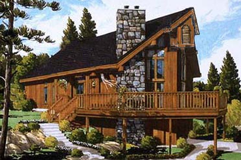 Contemporary Style House Plan - 3 Beds 2 Baths 1114 Sq/Ft Plan #3-240 Exterior - Front Elevation