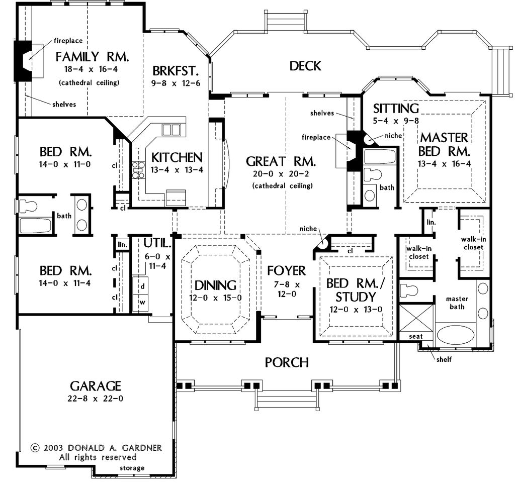 Country style house plan 4 beds 3 baths 2818 sq ft plan for Spec home business plan