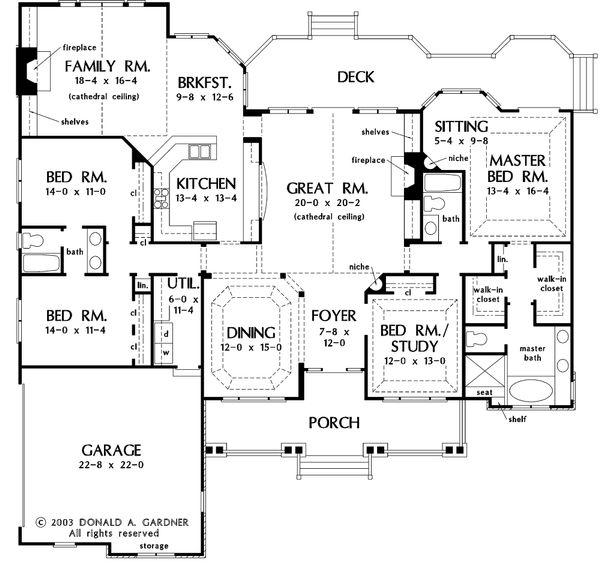 Country Floor Plan - Main Floor Plan #929-13