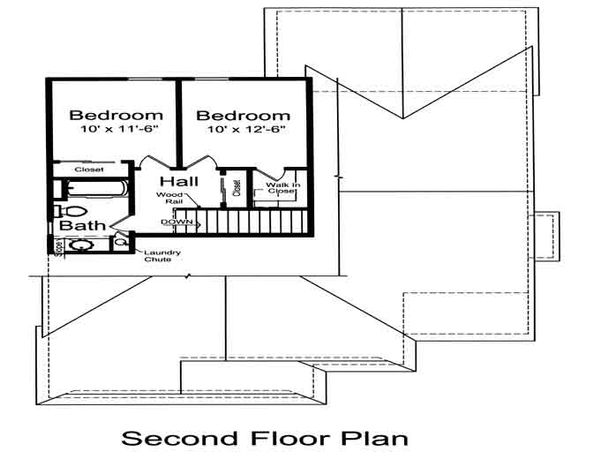 Cottage Floor Plan - Upper Floor Plan Plan #46-498