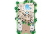 Mediterranean Style House Plan - 5 Beds 6 Baths 6718 Sq/Ft Plan #27-393 Floor Plan - Main Floor Plan
