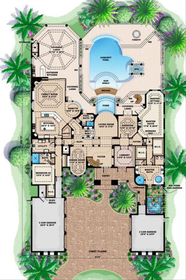 Mediterranean Floor Plan - Main Floor Plan Plan #27-393