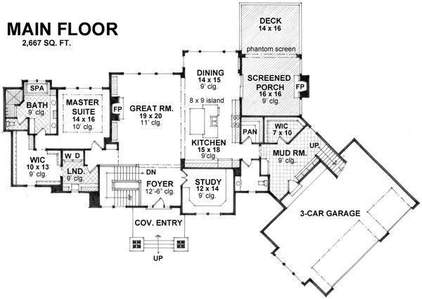 Craftsman Floor Plan - Main Floor Plan Plan #51-581