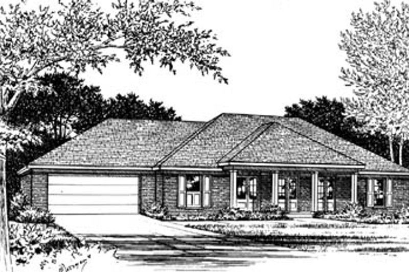 Ranch Style House Plan - 3 Beds 2 Baths 1598 Sq/Ft Plan #15-110 Exterior - Front Elevation