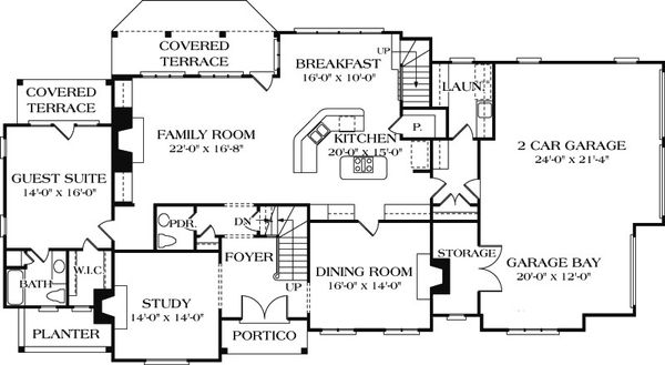 European Floor Plan - Main Floor Plan Plan #453-15