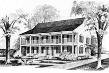 House Blueprint - Southern Exterior - Front Elevation Plan #72-358