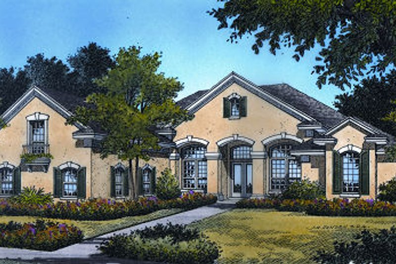 Mediterranean Style House Plan - 4 Beds 4 Baths 2713 Sq/Ft Plan #417-317 Exterior - Front Elevation
