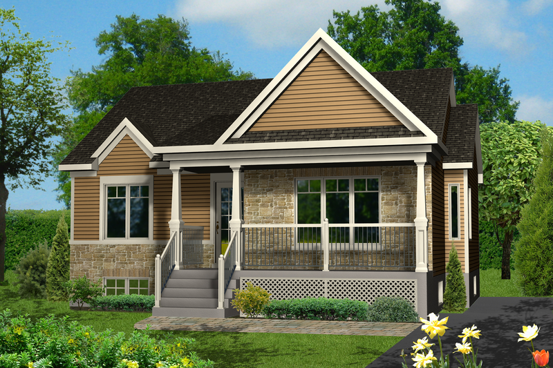 Country Style House Plan - 2 Beds 1 Baths 895 Sq/Ft Plan #25-4458 Exterior - Front Elevation