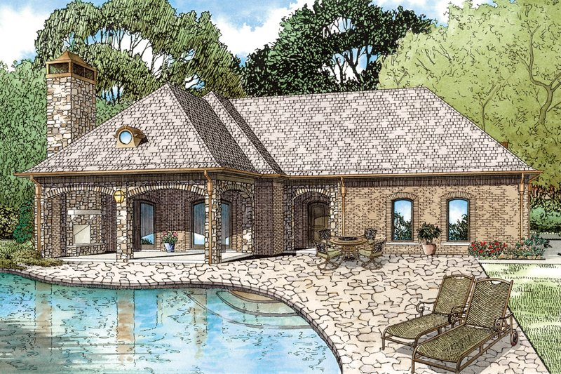 European Style House Plan - 1 Beds 1.5 Baths 1117 Sq/Ft Plan #17-2577 Exterior - Front Elevation